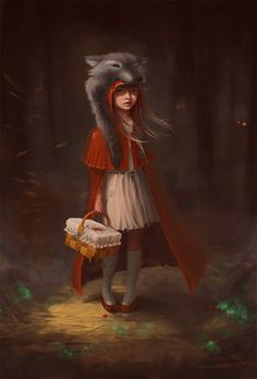 Little red riding hood I dont think little big girls should Go walking in these spooky old woods alone.