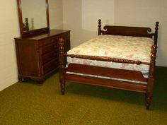 Willett Furniture...cherry Bed And Dresser With Mirror