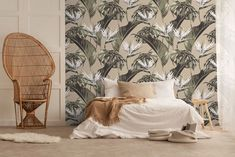 Birds of paradise and palm leaves accent this cream bedroom wallpaper, which offers a neutral colour choice that is still inspired by vintage tropical décor. Use this bedroom wallpaper to create the perfect subtle calm effect and focal point in any space. Bedroom Wallpaper Neutral, Neutral Colors, Earthy Colours, Bright Colours, Cream Bedrooms, Casa Milano, Earthy Bedroom, Wall Bar, Display Homes