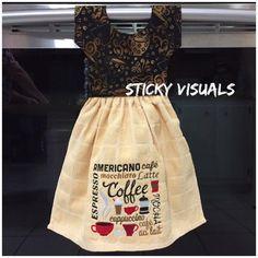 Coffee Subway Art Kitchen Oven Door Towel Deep Cream Embroidered