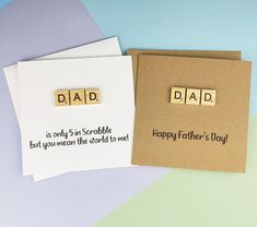 Scrabble Father's Day card for Dad Scrabble tile card | Etsy Fathers Day Cards Handmade, Happy Fathers Day Cards, Mothers Day Cards, Greeting Cards Handmade, Baby Girl Cards, New Baby Cards, Etsy Shop Names, Dad Birthday Card, Scrabble Tiles
