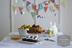DIY and reusable party decorations - 4 sets of decorations from one sheaf of cardstock