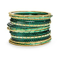 Emerald and Gold Bangle Stack