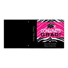 Personalized Pink Black Zebra Graduation Party 3 Ring Binder / Memory Book Photo Album #classof2014 #graduation #gradparty @Zazzle Inc.