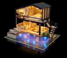 DIY Dollhouse Kit Realistic Mini Wooden Modern Villa Cottage Swimming Pool Craft with Furniture LED Diorama Toys For Kids Birthday Gift - Dekoration Diy Miniature Dollhouse, Wooden Dollhouse Kits, Dollhouse Miniatures, Dollhouse Furniture, Cottage Rose, Muñeca Diy, Puzzles 3d, Kids Birthday Gifts, Kit Homes