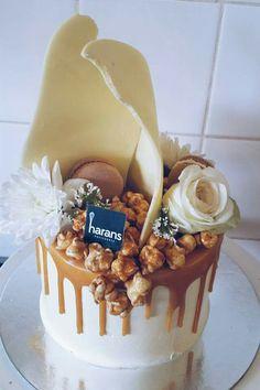 White cake with caramel drip cake