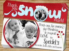 Digital Christmas Snowy Holiday Thank you card- Personalized