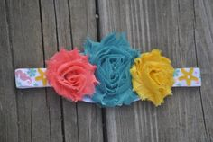 Ocean Themed Newborn Shabby Flower Headband by EverywhenBoutique
