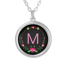 Custom Floral Wreath on Black Silver Plated Necklace - pattern sample design template diy cyo customize
