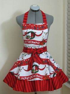 Items similar to The Grinch Apron -Sexy Double Full of Flounce -Vintage Inspired Apron - Merry Grinchmas. Grinch Christmas Party, Grinch Party, Christmas Aprons, Little Christmas, Holiday Fun, Christmas Carol, Christmas Cookies, Christmas Decor, Christmas Gifts