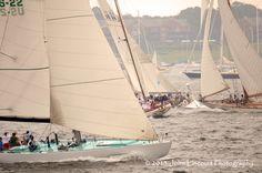 Intrepid crosses behind Ticonderoga, Valient & Spartan during the 2013 Classic Yacht Regatta