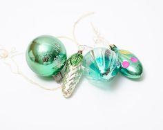 Green Holiday Ornaments - Set of 4 Soviet Vintage Christmas Ornaments