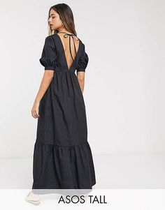 Buy ASOS DESIGN Tall cotton poplin v front v back tiered maxi dress in black at ASOS. Get the latest trends with ASOS now. Asos, Safari, Mode Sombre, Short Long Dresses, Accesorios Casual, Poplin Dress, Tall Women, Dark Fashion, Latest Dress
