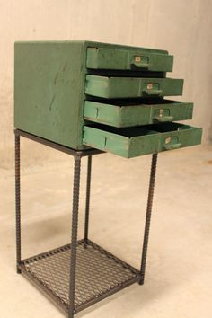 End Table Vintage Parts Drawer with ReBar Legs by nakedMETALstudio