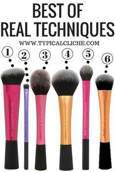 Best Real Techniques Brushes  1. Sculpting Brush 2. Accent Brush 3. Blush Brush 4. Powder Brush 5. Setting Brush 6. Expert Face Brush