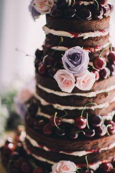 Naked Black Forest Gateau Cake Chocolate Cherries Flowers Beautiful Relaxed Summer Blush Wedding http://jenmarino.com/