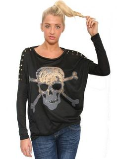 Spikes Skull and X Bone Print Top - by Pilot,  Top, Spikes Skull and X Bone Print, Casual