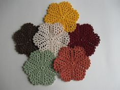Crocheted Coasters - Doilies - Glass Mats - Dining Table Decor Fall Decorations Kitchen Home Decor Country Decor Cottage Decor Set of Six.