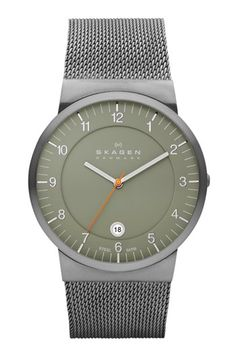 Skagen Slim Round Mesh Strap Watch, 39mm available at #Nordstrom ; Mineral crystal face, Stainless steel.