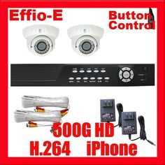 "Professional 4 Channel DVR with 2 x 1/3"" Exview HAD CCD II with Effio-E DSP Devices Camera. 700 TV lines, 2.8~12mm varifocal lens, 36pcs IR LED, 98 ft IR Distance CCTV Surveillance Video Camera System Package . $460.00. Package Includes: G-2544SV-N DVR with 500G HDD Remote Control and mouse 2 x G-108M - 1/3"" Exview HAD CCD II with Effio-E DSP Devices Camera 2 x G-60CAW: 60 feet pre-made cable BNC 2 x G-12V1A: 12V 1A Power Supply for Security Cameras"