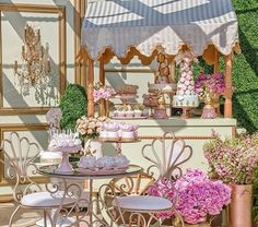 DESSERT TABLESCAPE | Smith Garden Chairs and Tables were custom finished in a Rose Gold, perfect for this LADURÉE inspired sweets table. Designed by #alianaevents
