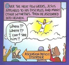 Ascension humor: Faith = believing without seeing Funny Christian Quotes, Christian Cartoons, Christian Jokes, Christian Life, Catholic Jokes, Religious Jokes, Religious People, Religious Art, Easter Jokes