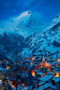 Twilight over Zermatt with the Matterhorn beyond, Switzerland. I loved Zermatt! Zermatt, Places Around The World, Oh The Places You'll Go, Places To Travel, Places To Visit, Travel Destinations, Dream Vacations, Vacation Spots, Beautiful World