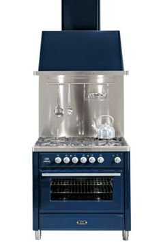 Majestic Techno MT90 MP-BLX 90cm oven with rangehood in blue, from Ilve.