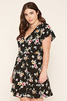 Red,black FOREVER21 PLUS  casual dress  for woman plus size,floral print,surplice,dress #vestidoinformal #camisole #túnica #shift #pleat #pleated #drape #t-shape #daisy #foldedshoulder #summer #loosefit #tunictop #swing #day #offtheshoulder #smock #print #printed #tea #babydolldress #polodress #pansybow #sundress #offshoulder
