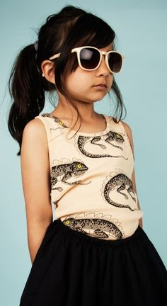 Mini Rodini SS14 - We love the tank, skirt and sunglasses. www.stadtlandkind.ch