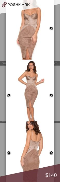 TAUPE SATIN AND SUEDETTE BUSTIER DRESS DETAILS  It's all about the body sculpting with 'Andreia'. Beautiful soft neutral tones combine with satin and softest suedette. The top features a bustier design accentuated over the hips for full on curve creating and a stretch suedette skirt. A sexy centre slit finishes off the look.   ?  Length: Approx 101cm  Materials: Satin (95% Polyester, 5% Spandex) Suede (90% Polyester, 10% Spandex) Gentle D house of cb  Dresses Midi