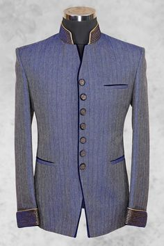 Navy #blue charming #jute suit with bandhgala collar-ST483