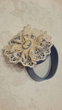 """Country blue with antique white lace and cameo accent trinket box 4"""". Handmade."""