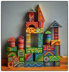 Rainbow Vintage Colourful Wooden Building Blocks by ElspethMcLean