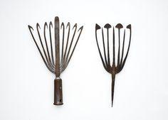 "Winter & Summer Eel Spears. Wrought-Iron. Winter Spear 13-1/2"" Long. Circa 1930's. Summer Spear 13"" Long. Circa 1890's."