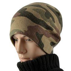 dda08f67e86de Male Winter Outdoor Camouflage Ski Hat Men Hip-hop Punk Rock Skullies Women  Warm Knitting