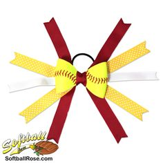 Handmade Softball Hair Bow made from real softball leather Softball Hair Bows, Softball Hairstyles, Different Font Styles, Making Hair Bows, White Ribbon, Ribbon Colors, How To Make Bows, Grosgrain, Polka Dots