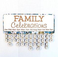 Personalised Family Celebrations Calendar navy by MissBoldDesign