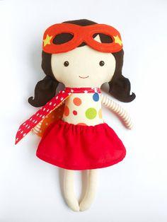 Puppen - Superheldin Puppe, superhero Doll, Stoffpuppe - ein Designerstück von LaLobaStudio bei DaWanda