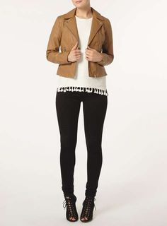 Tan Faux Leather Biker Jacket - Jackets & Coats - Clothing - Dorothy Perkins United States