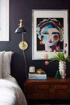 """We love the opinionated and colorful art in this """"Cozy And Eclectic Wisconsin Home."""" Creative artist and homemaker, Megan Schlachtenhaufen, throws her front door open wide to offer a tour of her beautifully bohemian space. Eclectic Design, Eclectic Decor, Eclectic Bedrooms, Bohemian Bedrooms, Eclectic Quilts, Eclectic Furniture, Pipe Furniture, Furniture Vintage, Design Furniture"""