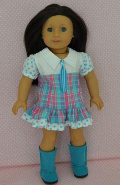 "Plaid dress for 18"" dolls."