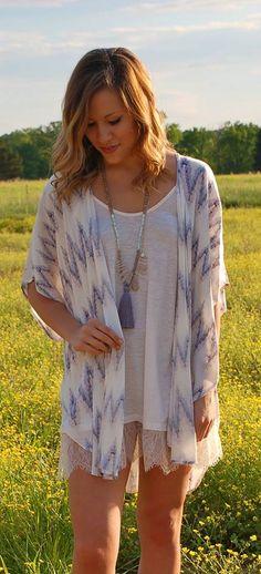 Top Down Chevron Kimono | ShopbellaC