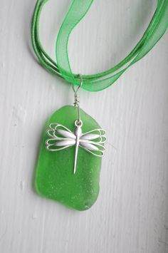 Green Seaglass Necklace with Dragonfly Charm - Seaglass Jewelry - Sterling Silver Dragonfly $15.00 - I love what the designer does with sea glass, just beautiful!
