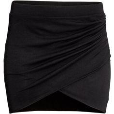 H&M Wraparound skirt ($7.59) ❤ liked on Polyvore featuring skirts, mini skirts, bottoms, black, faldas, wrap skirt, h&m, black mini skirt, wrap around skirt and short wrap skirt