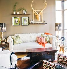 Eclectic condo living room design | small space decorating ideas
