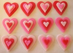 Fondant Cupcake Toppers - Hearts - Valentines Day
