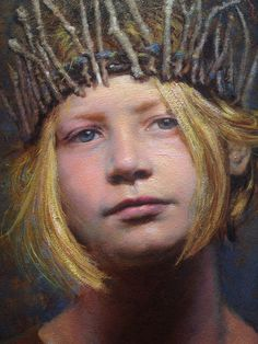 """The Unfolding"" - Seth Haverkamp (b. 1980), oil on panel {figurative art blonde female head crown girl face portrait cropped painting detail #loveart} sethhaverkamp.com"