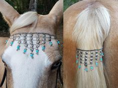 Blue Drops Browband and Tail Loop Set for Mini Pony Horse or