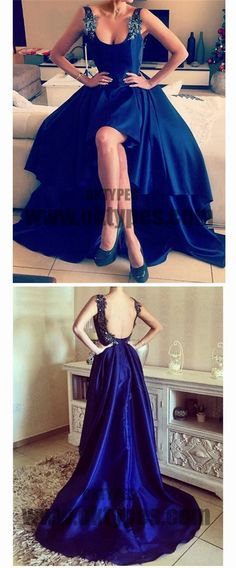 Royal Blue Prom Dresses, Asymmetrical Prom Dresses, Backless Prom Dresses, Appliques Prom Dresses With Little Beading, TYP0215 #promdresses